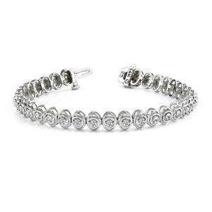 6.60 Carats round cut diamond link bracelet white
